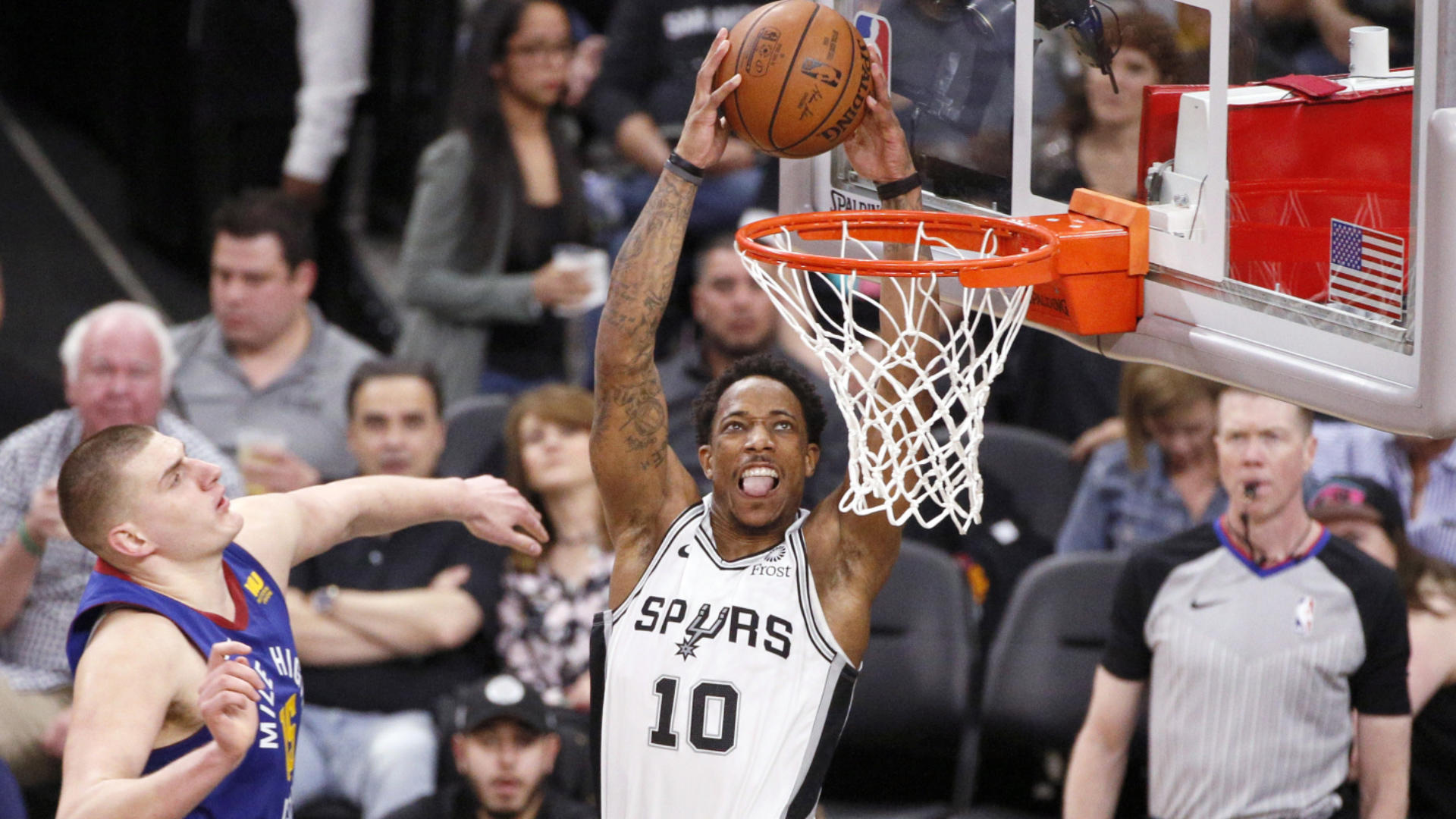 NBA Playoffs 2019: DeMar DeRozan ejected at end of Spurs' Game 4 loss to Nuggets for throwing ball at referee