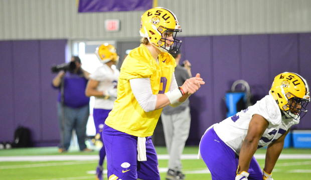 undefined  LSU quarterbacks work out on Day 1 of spring practice ... 727953446