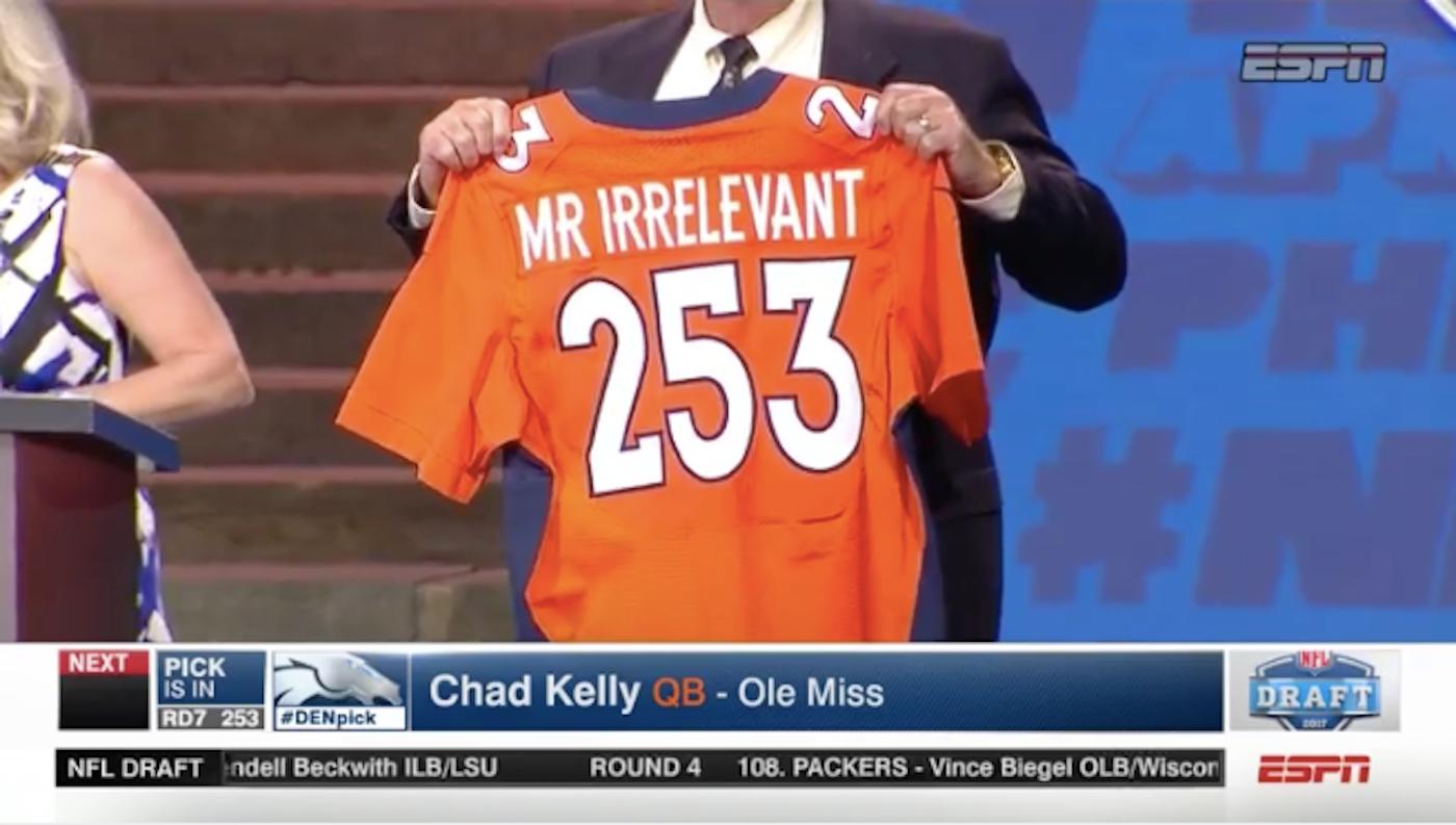 huge discount 65ad4 d2fa7 LOOK: Chad Kelly falls asleep during draft, Broncos make him ...