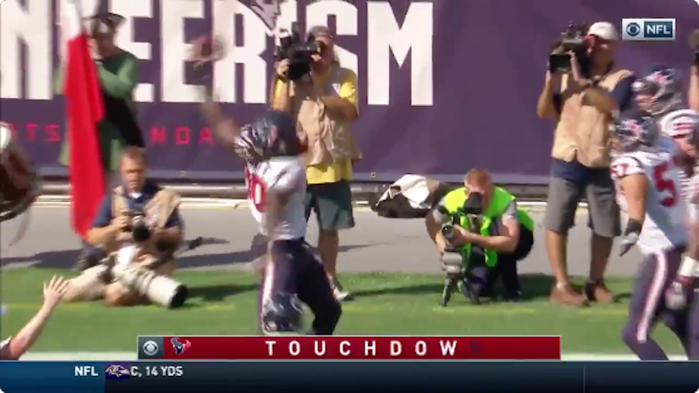 WATCH: Jadeveon Clowney returns Tom Brady fumble for TD then does a Gronk spike