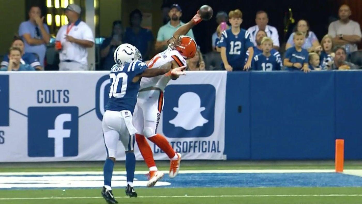 WATCH: Browns' Jordan Leslie channels Odell Beckham Jr. for first NFL catch