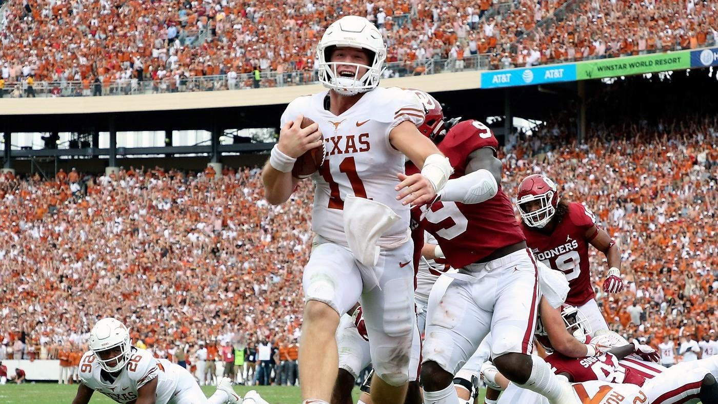 34a5099ba93a Oklahoma vs. Texas score  No. 19 Longhorns upset No. 7 Sooners ...