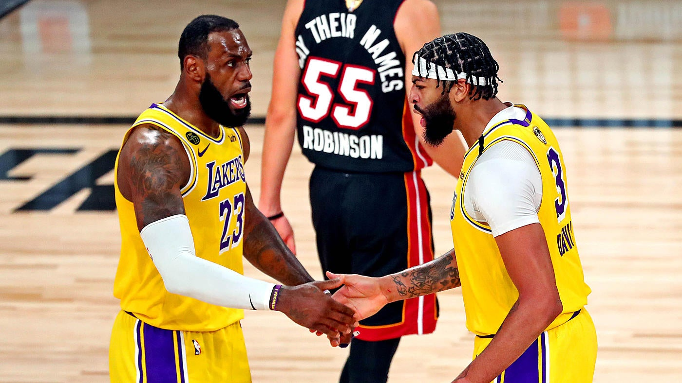 Lakers Vs Heat Score Takeaways Anthony Davis Has Brilliant Finals Debut Lebron James Goes Hunting In Win Cbssports Com