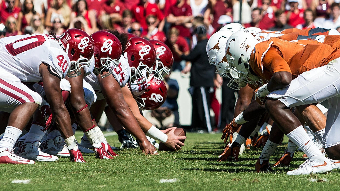 """Oklahoma Offense versus Texas Defense prior to the snap. """"pictured here"""""""