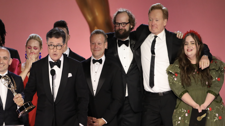 Stephen Colbert Speaks out on Conan O'Brien's Emmys Stage Crash