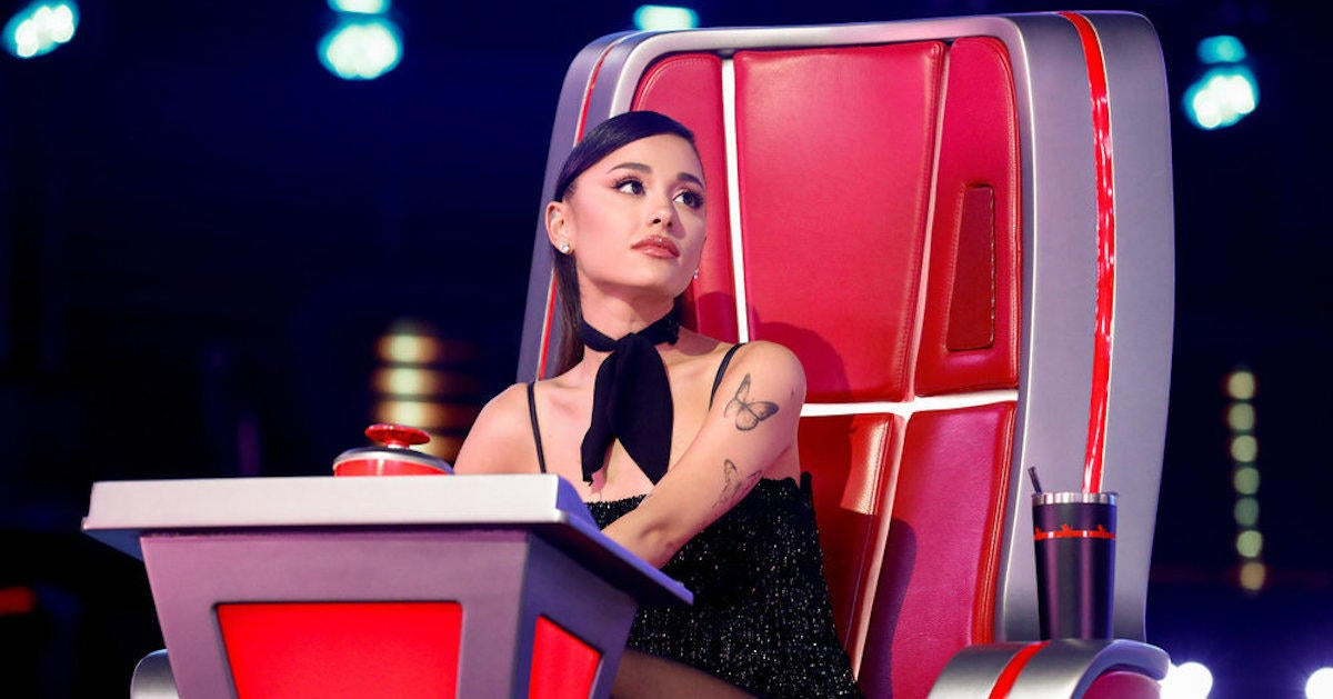 'The Voice': Ariana Grande Tears up at Four-Chair Turn Blind Audition.jpg