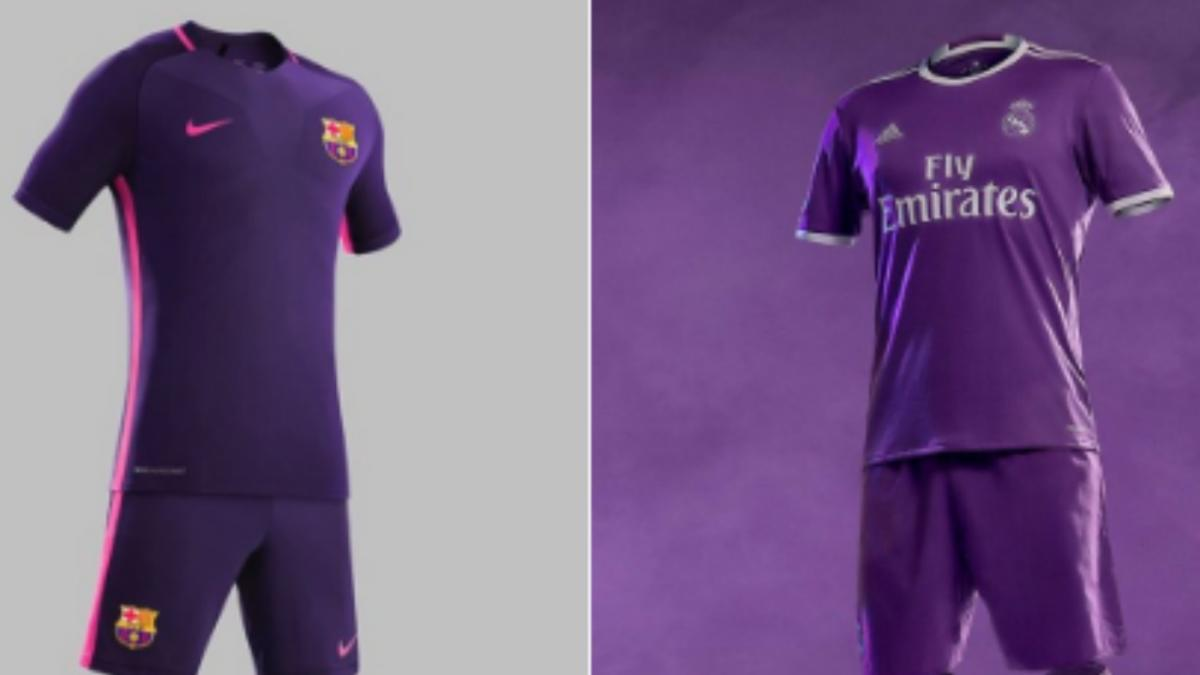 1078c4056 LOOK: Real Madrid and Barcelona show off new purple jerseys, strangely on  same day - CBSSports.com