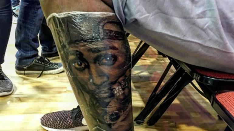 Look All Eyes Are On Kevin Durant S Latest Leg Tattoo Of