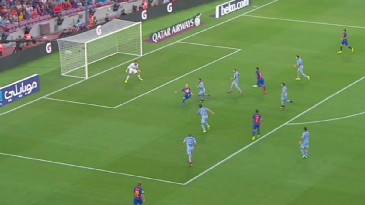 Watch barcelona 39 s messi produces jaw dropping bicycle kick assist to luis suarez - Messi bicycle kick assist ...