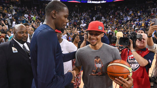 Kevin Durant and Stephen Curry at Oracle