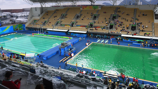Olympic Officials Decide To Drain The Green Water From Pool USATSI
