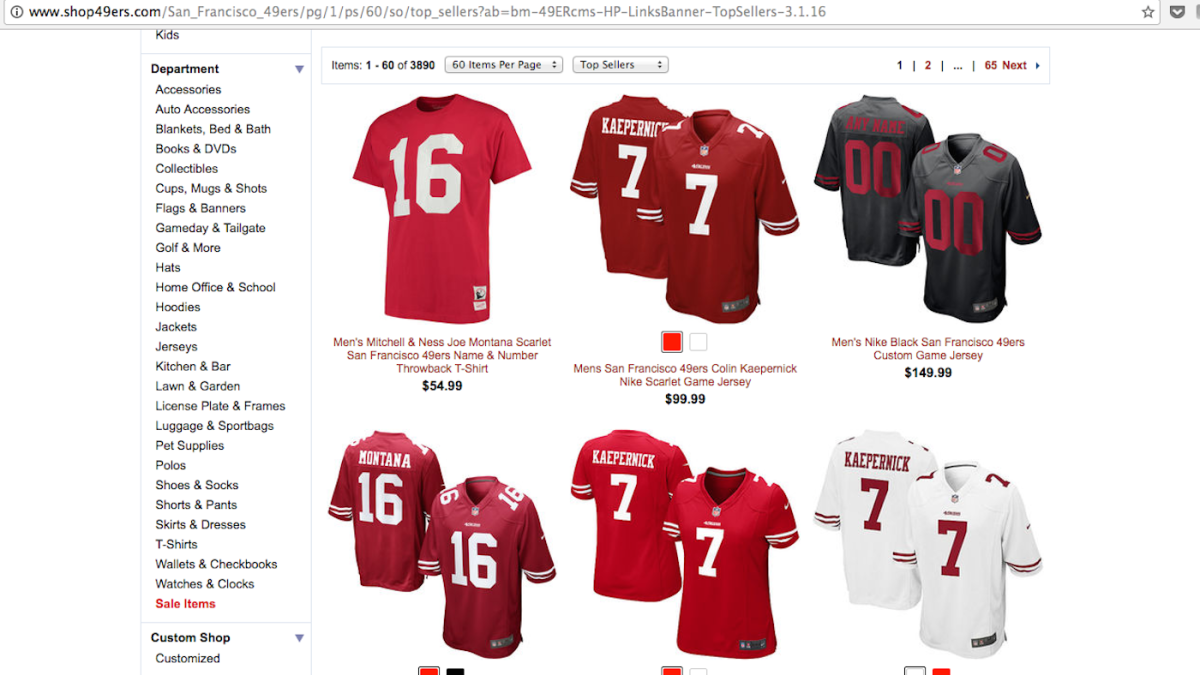 437e5959 Colin Kaepernick jersey sales have skyrocketed since he began his ...