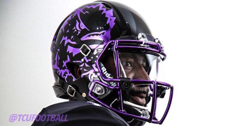 e7e93e324 LOOK  TCU unveils fresh blackout uniforms with an electric purple helmet -  CBSSports.com