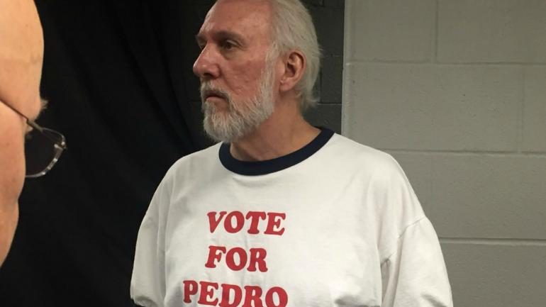 LOOK: Spurs' Gregg Popovich Wears 'Vote For Pedro' Shirt