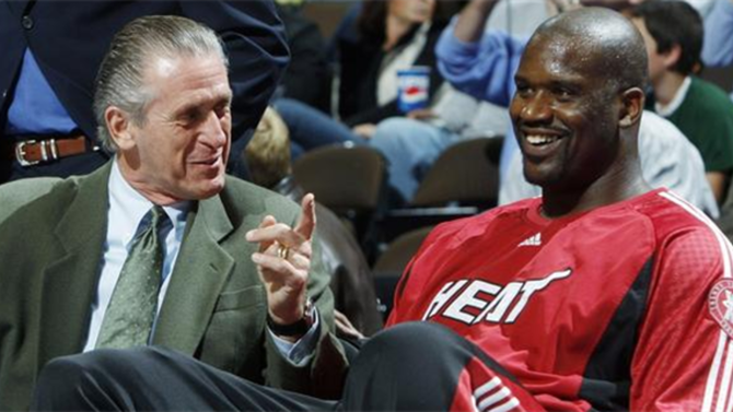 ea0108ec093 Pat Riley and Shaquille O Neal will be reunited when Shaq s jersey goes  into the rafters. Getty Images