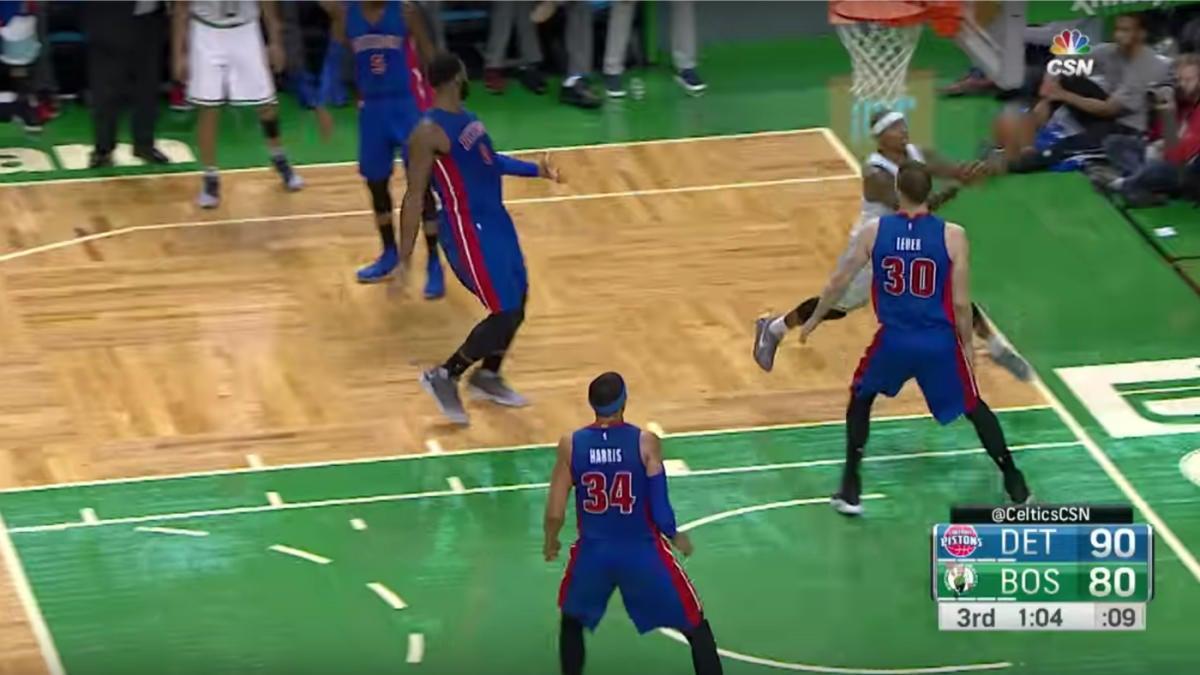 WATCH: Celtics' Isaiah Thomas defies physics, makes behind-the-backboard banker