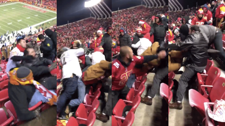 watch raiders and chiefs fans engage in scary sprawling upper deck