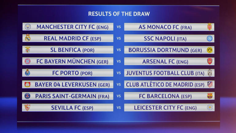 Champions League draw results: Arsenal gets Bayern Munich again, Barcelona lands PSG - CBSSports.com