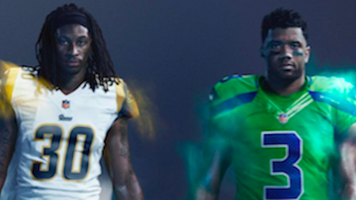 finest selection 5b684 fc9a5 Color Rush: Here are the Seahawks' and Rams' wild uniforms ...