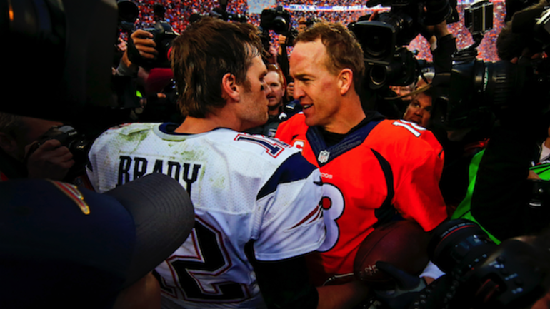 Look peyton manning and tom brady meet up after week 15 cbssports peyton manning and tom brady meet up after new england patriots and denver broncos m4hsunfo