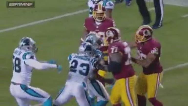 Redskins' Jordan Reed ejected for throwing punch at Panthers' Kurt Coleman