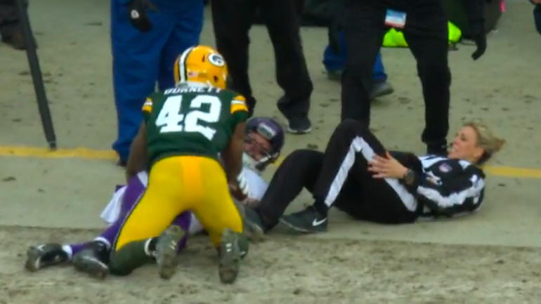 WATCH: Female NFL official gets bulldozed during Vikings ...