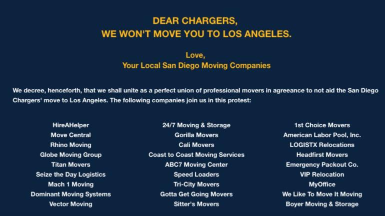 San Diego Moving Companies Unite Refuse To Help Chargers