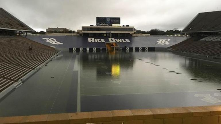 look  rice football stadium so flooded you could almost