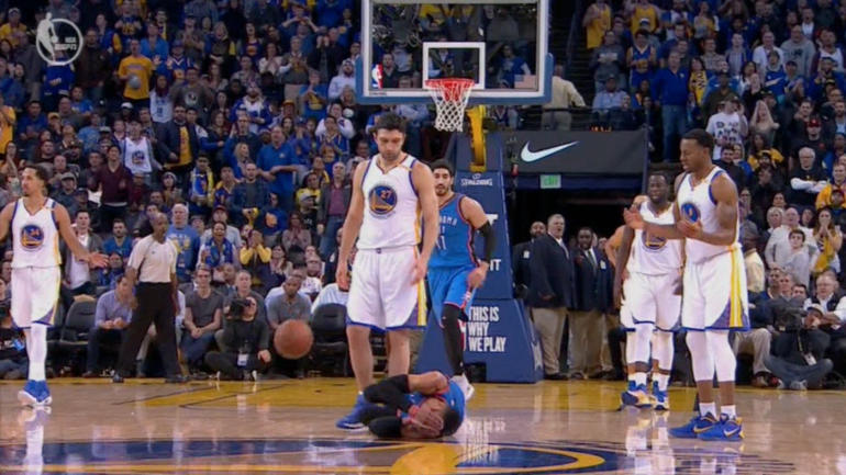 WATCH: Warriors' Zaza Pachulia stands over Russell ...