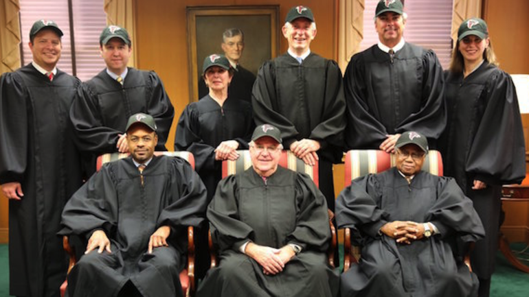 Georgia Supreme Court poses in Falcons hats for Super Bowl berth ... 8bce33798c2