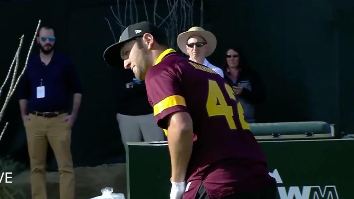 size 40 f0cc0 372f6 WATCH: Jon Rahm dons Pat Tillman Arizona State jersey at WM ...