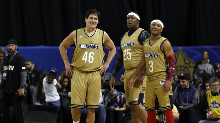 fcb08e92539 Celebrity All-Star Game  Mark Cuban wears No. 46 jersey in apparent jab at  Trump - CBSSports.com