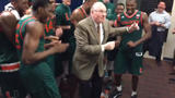 WATCH: Jim Larranaga busts a move with players after big Canes win