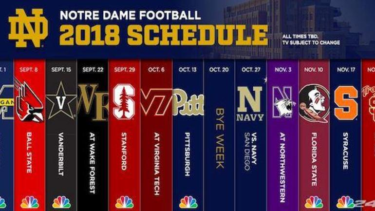 Notre Dame 2020 Football Schedule.Notre Dame Releases 2018 Football Schedule Cbssports Com