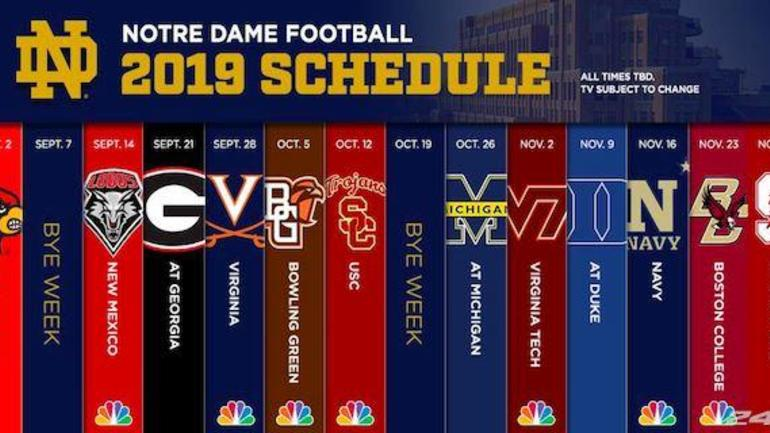 2017 College Football Bowl Games Schedule >> 2019 schedule for Notre Dame football has been released - CBSSports.com