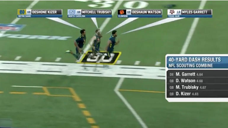 WATCH: Myles Garrett runs down top QBs in 40-yard dash at ...