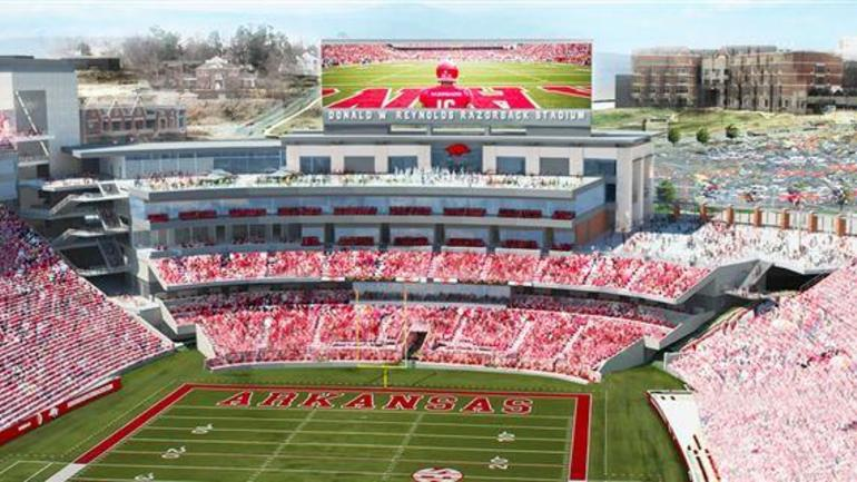 New video board for 2017 football season at Razorback Stadium ...