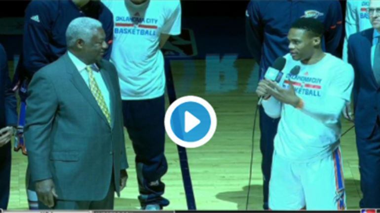 Oscar Robertson And Russell Westbrook Address Thunder Fans on oscar robertson college basketball stats