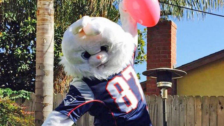 look  rob gronkowski puts on an easter bunny costume to