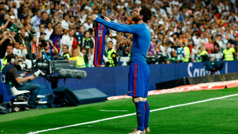 Golf Channel Shop >> El Clasico 2017: Messi trolls Real Madrid fans with iconic shirt celebration after scoring ...