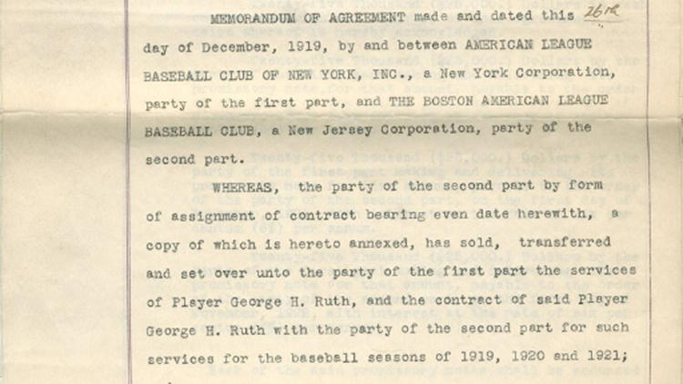 hot sale online 3af2e bf0f7 Original contract sending Babe Ruth from Red Sox to Yankees ...
