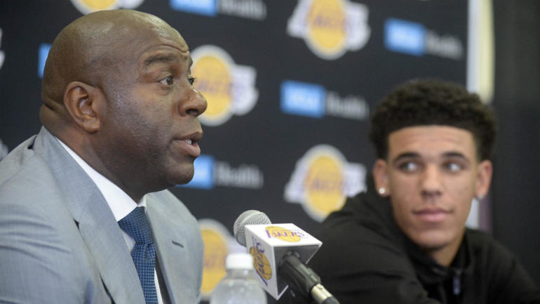Magic Johnson says No. 2 pick Lonzo Ball is the  new face of the Lakers  -  CBSSports.com 4281c55bc