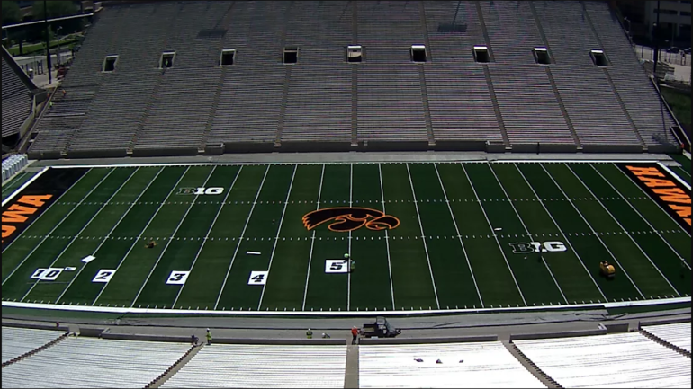 Look Iowa Puts Logo At Midfield Of Kinnick Stadium After