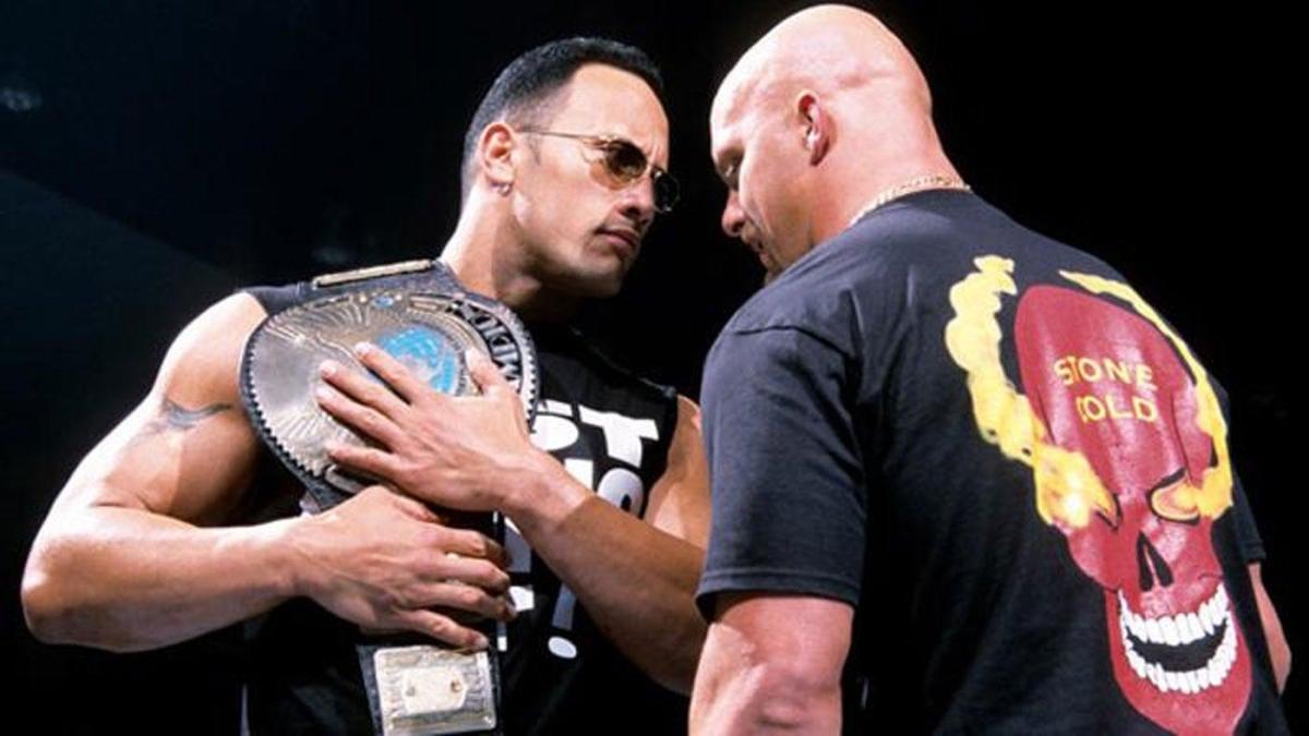 Dwayne 'The Rock' Johnson stares down his rival Steve Ausrin