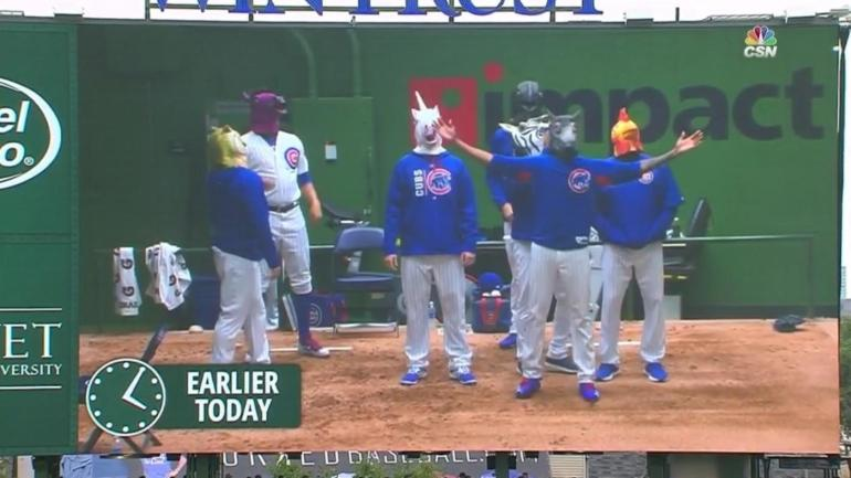 WATCH: Cubs and D-Backs relievers put on a rain delay show, and it was hilarious