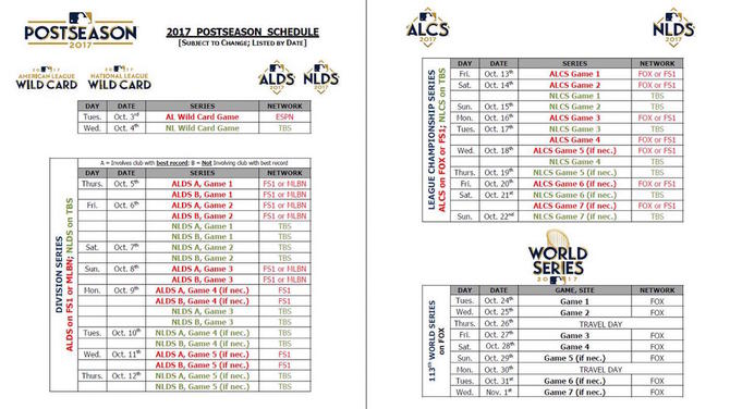 MLB releases 2017 postseason schedule including World Series