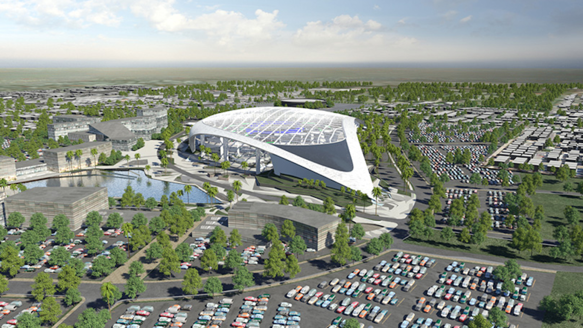 look rams show off splashy model of new 2 6 billion stadium in los angeles cbssports com 2 6 billion stadium in los angeles