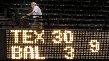 The Baltimore Orioles lost to the Texas Rangers 30-3 during