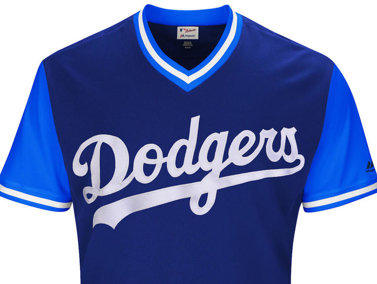 new players weekend uniforms for all 30 mlb teams cbssports comlos angeles dodgers 2017 players weekend jersey front