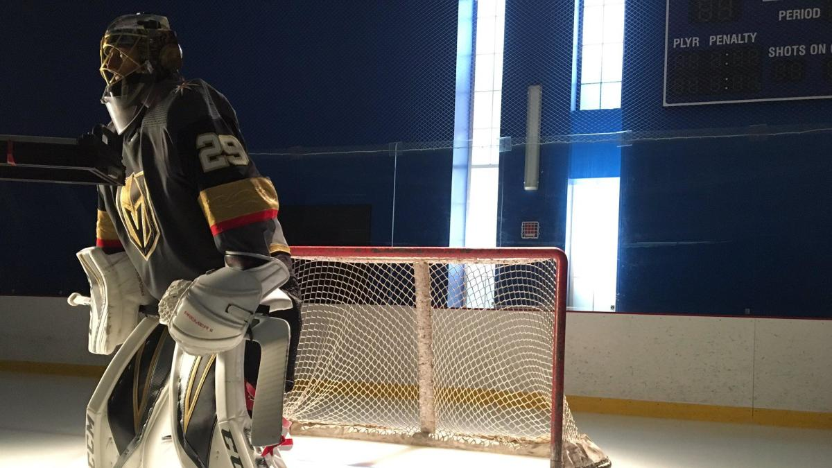 size 40 f526b 66a44 LOOK: Marc-Andre Fleury takes the ice in full Vegas Golden ...